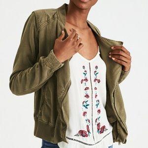 Olive Green Soft Moto Jacket